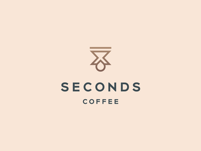 Seconds coffee typeface drink line elegant luxury cafe coffee drop hourglass time gradient identity abstract flat icon mark clever branding minimal logo
