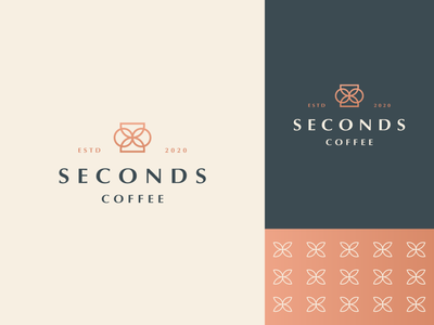 Seconds coffee line luxury elegant nature beans leaf coffee cafe plant gradient letter identity abstract flat icon mark clever branding minimal logo