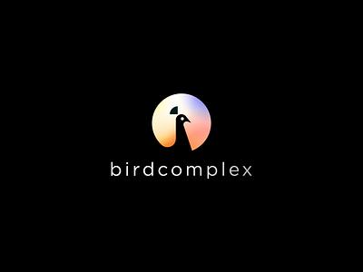 Birdcomplex circle geometry fashion elegance elegant typeface negativespace gradient beauty wild peacock bird abstract flat icon mark clever branding minimal logo