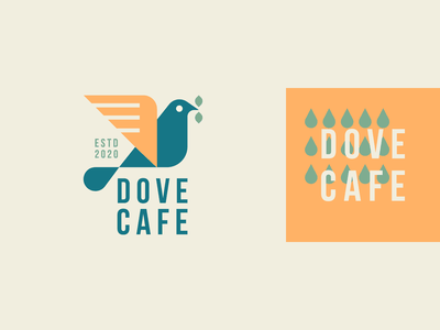 Dove cafe pattern drop feather geometry leaf wild dove coffee cafe bird animal identity abstract flat icon mark clever branding minimal logo