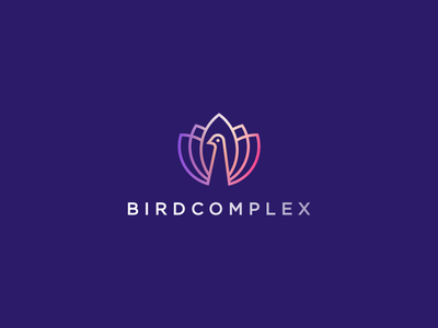 Birdcomplex color luxury feather flower line wild elegant beauty peacock bird gradient identity abstract flat icon mark clever branding minimal logo
