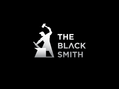 The blacksmith illustration medival power edgy black smith human gradient identity abstract flat icon mark clever branding minimal logo