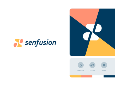 Senfusion pattern geometry fusion information technology data s letter identity abstract flat icon mark clever branding minimal logo