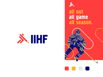 International Ice Hockey Federation - Rebranding stick athletic sports run human line pattern sport hokey ice letter identity abstract flat icon mark clever branding minimal logo