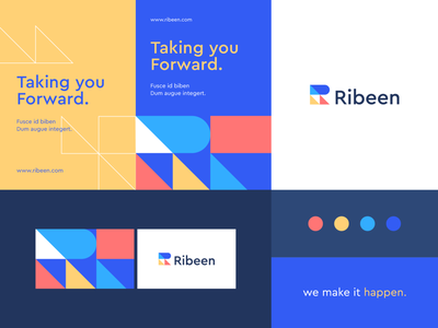 Ribeen - Identity system trust app typeface forward triangle growth pattern geometry technology letter identity abstract flat icon mark clever branding minimal logo
