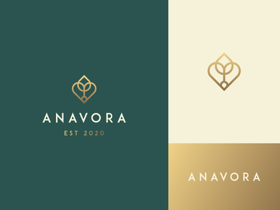Anavora gradient nature fashion luxury elegance stroke line plant love heart letter identity abstract flat icon mark clever branding minimal logo