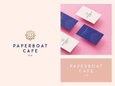 Paperboat cafe visual identity card premium fashion pattern luxury elegant restaurant coffee cafe gradient letter identity abstract flat icon mark clever branding minimal logo