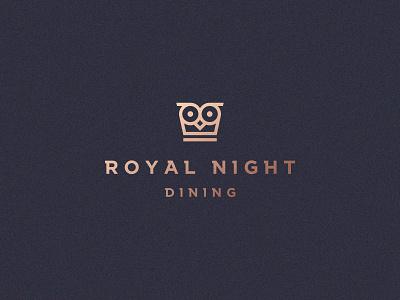 Royal night dining king crown food line cafe restaurant elegant owl luxury animal gradient identity abstract flat icon mark clever branding minimal logo