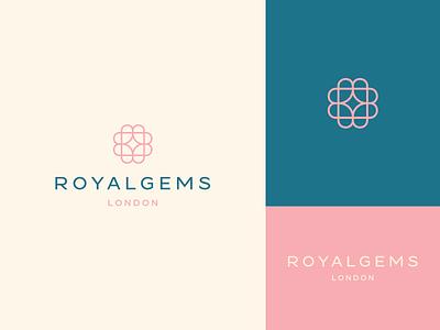 Royalgems elite fashion geometry typeface love heart stroke line star elegant luxury identity abstract flat icon mark clever branding minimal logo