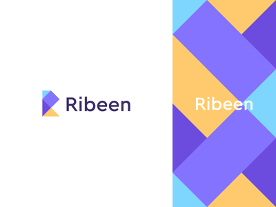 Ribeen modern typeface triangle rectangle technology tech data pattern geometry letter identity abstract flat icon mark clever branding minimal logo