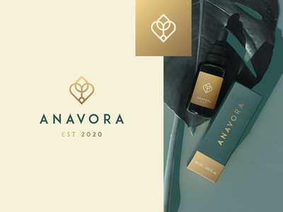 Anavora Packaging plant heart high end gold gradient nature fashion luxury elegant identity abstract flat icon mark clever branding minimal logo