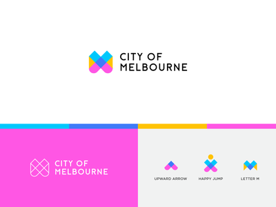 City Of Melbourne - Rebranding concept rebranding upward arrow geometry line happy city tourism monogram m letter identity abstract flat icon mark clever branding minimal logo