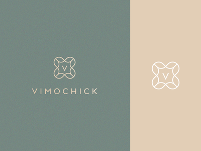 Vimochick royal luxury elegant clothing boutique line fashion geometry flower gradient letter identity abstract flat icon mark clever branding minimal logo