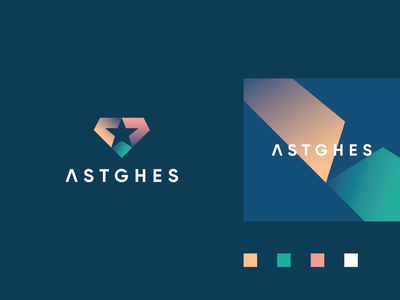 Astghes diamond futuristic startup tech arrow technology element geometry star letter identity abstract flat icon mark clever branding minimal logo