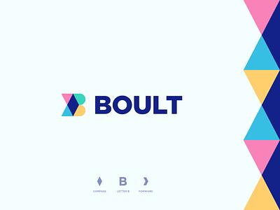 Boult explore travel grow move forward compass arrow monogram b geometry letter identity abstract flat icon mark clever branding minimal logo