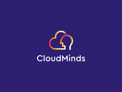 CloudMinds Redesign ai cloud data stroke brain mind human gradient identity abstract flat icon mark clever branding minimal logo