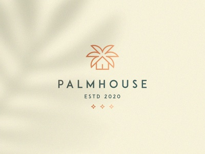 Palm house nature premium luxury elegant apartment hotel tree palm realestate house home identity abstract flat icon mark clever branding minimal logo