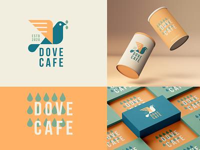 Dove cafe - Brand identity illustration drop coffee cafe tea leaf geometry bird animal letter identity abstract flat icon mark clever branding minimal logo