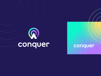 Conquer technology circle c letter tech pattern geometry gradient abstract design flat icon mark clever branding minimal logo