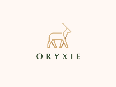 Oryxie premium beautiful beauty wild goat royal elegant luxury antler gradient animal identity abstract flat icon mark clever branding minimal logo
