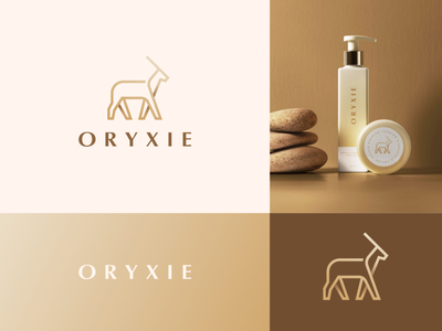 Oryxie Branding premium luxury elegant natural cosmetic packaging nature gradient oryx animal letter identity abstract flat icon mark clever branding minimal logo