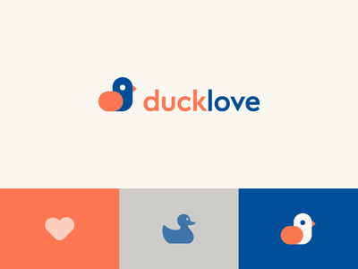 Ducklove app feather eye geometry heart bird cute duck letter identity abstract flat icon mark clever branding minimal logo