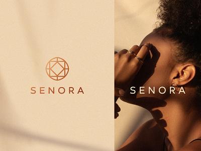 Senora stone gem typeface stroke line geometry gradient luxury elegant fashion women female jewelry flat icon mark clever branding minimal logo