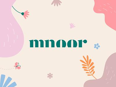 Mnoor beauty luxury elegant typface typography garden nature plant flower butterfly pattern illustration design flat icon mark clever branding minimal logo