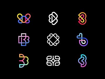 B Exploration star luxury elegant gradient line love heart letter exploration ui illustration design flat icon mark clever branding minimal logo