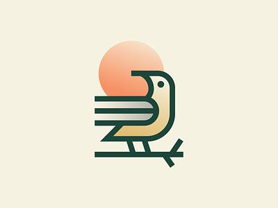 Bird Book geometry earth line stroke jungle planet wild sun tree book bird illustration design flat icon mark clever branding minimal logo
