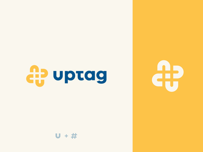 Uptag tag young abstract negative space letter u hashtag illustration design flat icon mark clever branding minimal logo