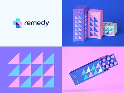 Remedy Branding r cross health women abstract eometry packaging wellness startup pharma medical ui design flat icon mark clever branding minimal logo