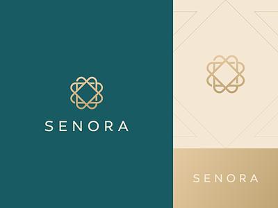Senora geometry gold luxury fashion jewelry diamond elegant design flat icon mark clever branding minimal logo