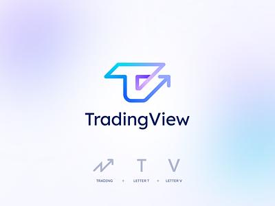 TradingView Redesign letter v t tv graph finance crypto bitcoin trade gradient ui design flat icon mark clever branding minimal logo