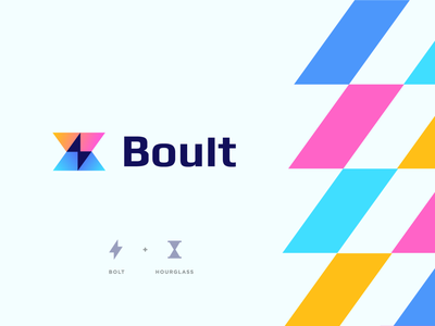 Boult geometry gradient hourglass time abstract negative space bolt ui illustration design flat icon mark clever branding minimal logo