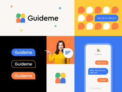 Guideme Brand Identity abstract vibrant happy pattern teacher school student bubble chat ux mobile design ui illustration flat icon clever branding minimal logo