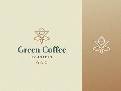 Green Coffee nature leaf premium gold luxury drop elegant green roasters coffee cafe design flat icon mark clever branding minimal logo