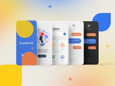 Guideme Brand UI system navigation list clean menu chat profile student education app icons phone design ui illustration icon mark clever branding minimal logo