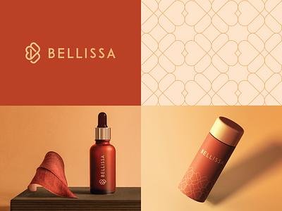 Bellissa branding & Packaging pattern care fashion monogram b letter heart nature product cosmetics premium elegant luxury packaging icon mark clever branding minimal logo
