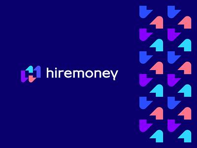 Hiremoney upward pattern negative space h letter modern vibrant abstract growth arrow money finance design flat icon mark clever branding minimal logo