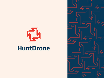 HuntDrone abstract bold monogram letter h negative space drone flat icon illustration mark clever branding minimal logo