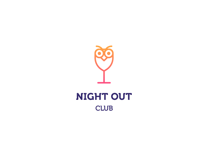 Nightout Club line stroke minimal glass drinks bar animal . club night owl
