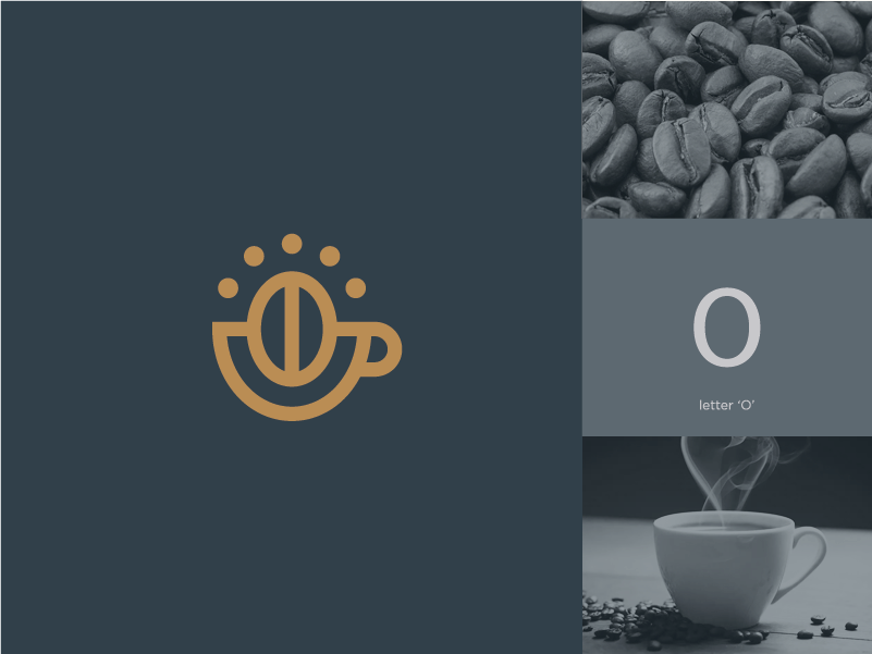 coffee bean + cup + letter O clever cup bean coffee line stroke branding mark minimal