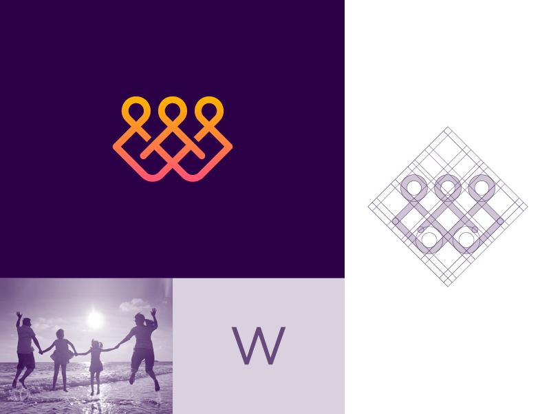W + Family mark line letter w letter family clever stroke gradient branding icon minimal