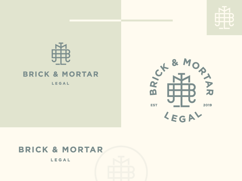 Brick & Mortar Legal elegant balance m legal attorney law monogram letter logo branding