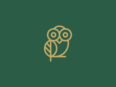 Owl + Leaf stroke elegent clever plant owl leaf wild animal logo branding