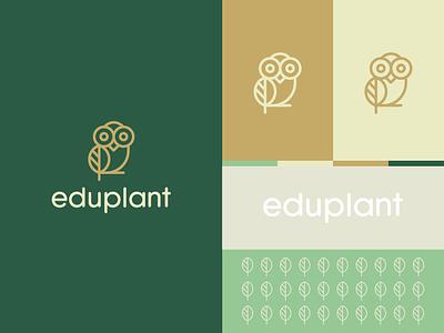 eduplant education branding logo animal wild leaf owl plant clever elegent