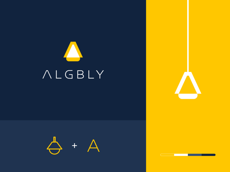 Algbly clever logo branding gradiant chandelier light letter g abstract electronic