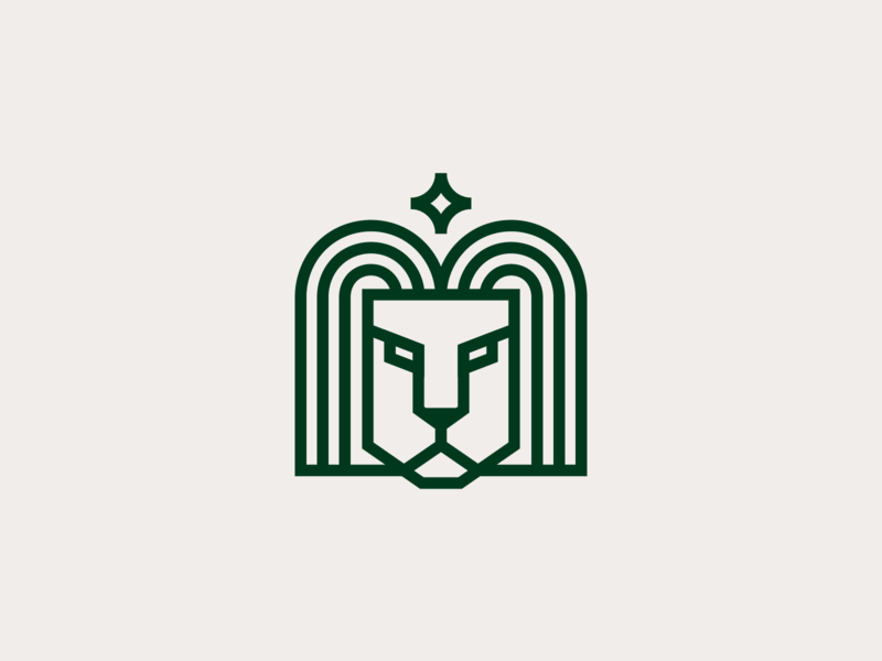 Lion mark geometry luxury elegant star animal lion line stroke branding logo