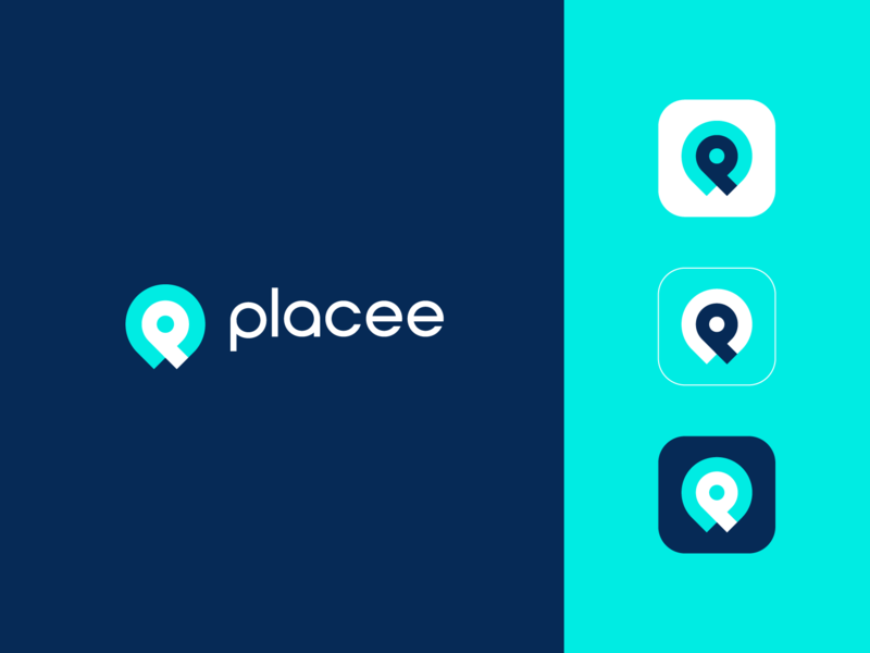 Placee icon location place p technology abstract branding logo clever app